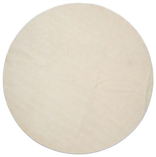 Handloom - Jasny Dywan Ø 250 Nowoczesny Okrągły Ciemnobeżowy/Beżowy Duży (Wełna, Indie)