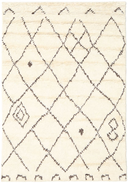 Almaaz - White Dywan 140X200 Nowoczesny Tkany Ręcznie Beżowy/Biały/Creme (Wełna, Indie)