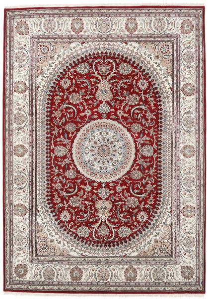 Nain Indie Dywan 253X357 Orientalny Tkany Ręcznie Jasnoszary/Ciemnoczerwony Duży ( Indie)