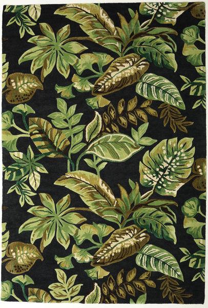 Jungel - Zielony/Czarny Dywan 200X300 Nowoczesny Ciemnozielony/Zielony/Oliwkowy (Wełna, Indie)