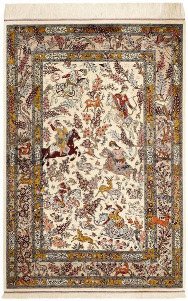 Kom Jedwab Dywan 98X148 Orientalny Tkany Ręcznie Beżowy/Brązowy (Jedwab, Persja/Iran)