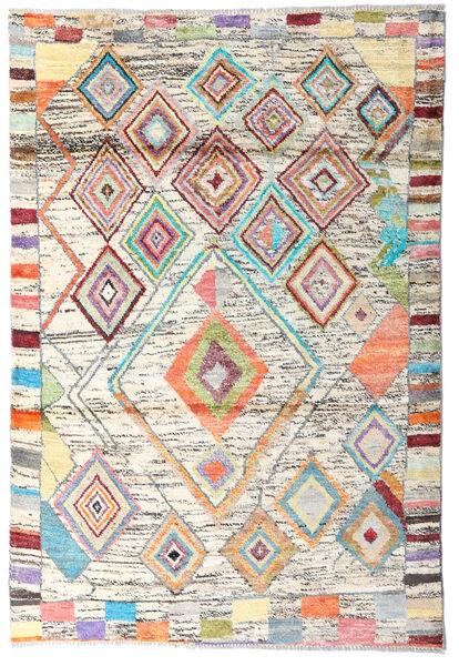 Moroccan Berber - Afghanistan Dywan 119X176 Nowoczesny Tkany Ręcznie Beżowy/Ciemnobeżowy (Wełna, Afganistan)