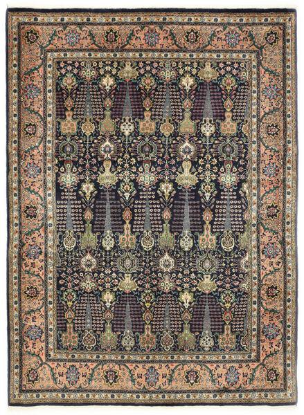 Tebriz 50 Raj Dywan 150X198 Orientalny Tkany Ręcznie Ciemnoszary/Ciemnoniebieski (Wełna, Persja/Iran)