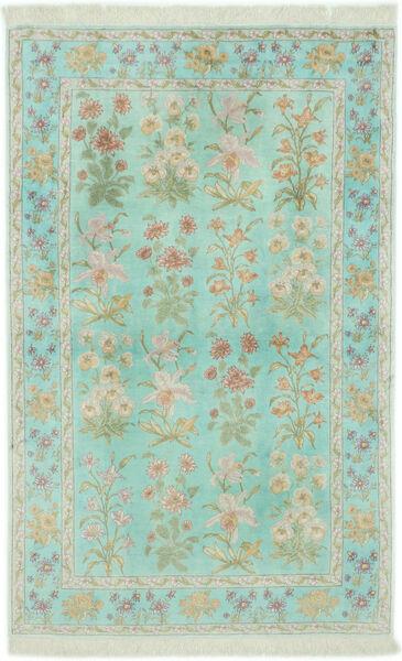 Kom Jedwab Dywan 102X160 Orientalny Tkany Ręcznie Pastel Zielony/Jasnoszary (Jedwab, Persja/Iran)