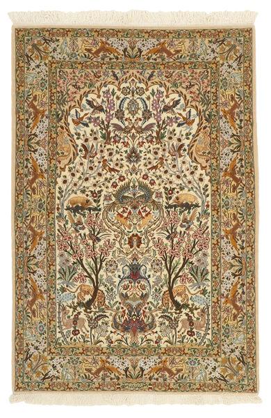 Isfahan Jedwabna Osnowa Dywan 115X170 Orientalny Tkany Ręcznie Jasnobrązowy/Beżowy (Wełna/Jedwab, Persja/Iran)