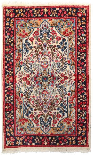 Kerman Dywan 92X151 Orientalny Tkany Ręcznie Ciemnoczerwony/Beżowy (Wełna, Persja/Iran)