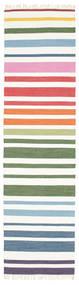Rainbow Stripe - White Dywan 80X300 Nowoczesny Tkany Ręcznie Chodnik Biały/Creme (Bawełna, Indie)