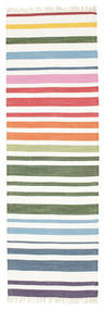 Rainbow Stripe - White Dywan 80X250 Nowoczesny Tkany Ręcznie Chodnik Beżowy/Biały/Creme (Bawełna, Indie)