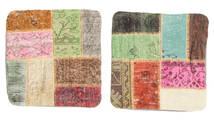 Patchwork Poszewka Na Poduszkę Dywan 50X50 Orientalny Tkany Ręcznie Kwadratowy Ciemnobeżowy/Beżowy (Wełna, Turcja)