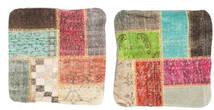 Patchwork Poszewka Na Poduszkę Dywan 50X50 Orientalny Tkany Ręcznie Kwadratowy Ciemnobrązowy/Jasnozielony (Wełna, Turcja)