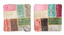 Patchwork Poszewka Na Poduszkę Dywan 50X50 Orientalny Tkany Ręcznie Kwadratowy Ciemnobeżowy/Jasnoróżowy (Wełna, Turcja)