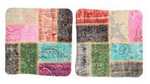 Patchwork Poszewka Na Poduszkę Dywan 50X50 Orientalny Tkany Ręcznie Kwadratowy Ciemnoszary/Beżowy (Wełna, Turcja)