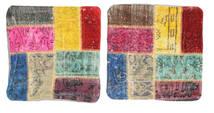Patchwork Poszewka Na Poduszkę Dywan 50X50 Orientalny Tkany Ręcznie Kwadratowy Beżowy/Ciemnobrązowy (Wełna, Turcja)