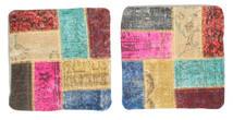 Patchwork Poszewka Na Poduszkę Dywan 50X50 Orientalny Tkany Ręcznie Kwadratowy Beżowy/Jasnobrązowy (Wełna, Turcja)