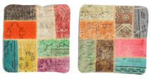 Patchwork Poszewka Na Poduszkę Dywan 50X50 Orientalny Tkany Ręcznie Kwadratowy Ciemnozielony/Beżowy (Wełna, Turcja)
