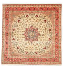 Tebriz 50 Raj Z Dodatkiem Jedwabiu Dywan 292X298 Orientalny Tkany Ręcznie Kwadratowy Beżowy/Rdzawy/Czerwony Duży (Wełna/Jedwab, Persja/Iran)