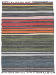 Rainbow Stripe - Szary Dywan 250X300 Nowoczesny Tkany Ręcznie Ciemnoszary/Zielony/Oliwkowy Duży (Bawełna, Indie)