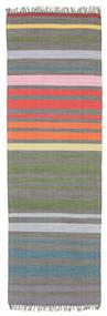 Rainbow Stripe - Szary Dywan 80X250 Nowoczesny Tkany Ręcznie Chodnik Ciemnoszary/Jasnoszary (Bawełna, Indie)