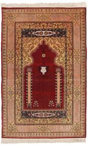 Herike Tu Dywan 82X130 Orientalny Tkany Ręcznie Ciemnoczerwony/Jasnobrązowy (Jedwab, Turcja)