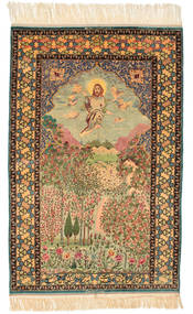 Isfahan Obrazkowy Sygnowany: Haghighi Dywan 163X230 Orientalny Tkany Ręcznie Brązowy/Beżowy (Wełna/Jedwab, Persja/Iran)