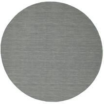 Kilim Loom - Ciemnoszary Dywan Ø 300 Nowoczesny Tkany Ręcznie Okrągły Jasnoszary/Ciemnozielony Duży (Wełna, Indie)