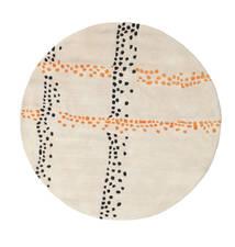 Delight Handtufted - Pomarańczowy Dywan Ø 150 Nowoczesny Okrągły Beżowy/Jasnoszary (Wełna, Indie)