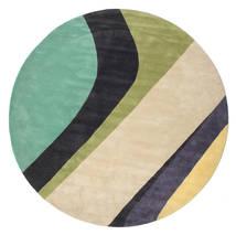 Dynamic Handtufted - Mint Dywan Ø 300 Nowoczesny Okrągły Beżowy/Ciemnoszary/Pastel Zielony Duży (Wełna, Indie)