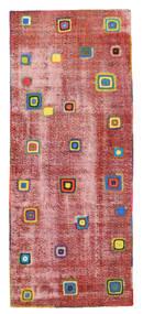 Colored Vintage Relief Dywan 113X275 Nowoczesny Tkany Ręcznie Chodnik Rdzawy/Czerwony/Ciemnoczerwony (Wełna, Turcja)