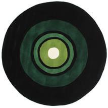 Schallplatte Handtufted Dywan Ø 150 Nowoczesny Okrągły Ciemnozielony (Wełna, Indie)