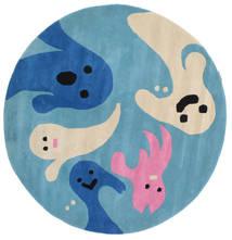 Spoky Dywan Ø 150 Nowoczesny Okrągły Turkusowy Niebieski/Niebieski (Wełna, Indie)