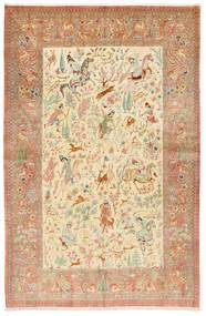 Kom Jedwab Sygnowany: Hosseini Dywan 155X240 Orientalny Tkany Ręcznie Rdzawy/Czerwony/Ciemnobeżowy (Jedwab, Persja/Iran)