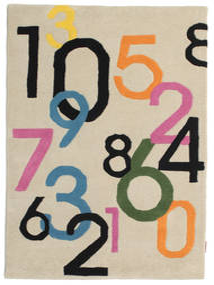 Lucky Numbers - Jasny Dywan 100X160 Nowoczesny Beżowy/Jasnoszary (Wełna, Indie)