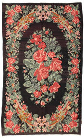 Kilim Rose Moldavia Dywan 168X275 Orientalny Tkany Ręcznie Ciemnobrązowy/Ciemnoszary (Wełna, Mołdawia)