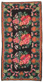 Kilim Rose Moldavia Dywan 186X360 Orientalny Tkany Ręcznie Czarny/Ciemny Turkus (Wełna, Mołdawia)