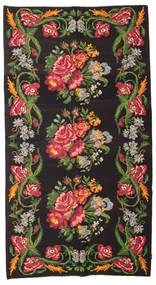 Kilim Rose Moldavia Dywan 180X327 Orientalny Tkany Ręcznie Czarny/Ciemnozielony (Wełna, Mołdawia)