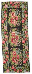 Kilim Rose Moldavia Dywan 166X452 Orientalny Tkany Ręcznie Chodnik Czarny/Jasnozielony (Wełna, Mołdawia)