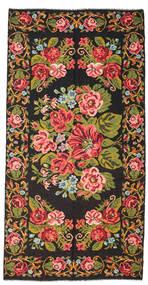 Kilim Rose Moldavia Dywan 198X400 Orientalny Tkany Ręcznie Czarny/Ciemnobrązowy (Wełna, Mołdawia)