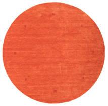 Loribaf Loom Dywan Ø 202 Nowoczesny Tkany Ręcznie Okrągły Pomarańczowy/Czerwony (Wełna, Indie)