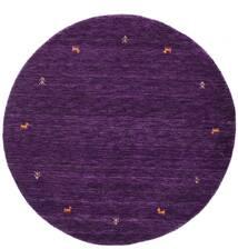 Gabbeh Loom Two Lines - Fioletowy Dywan Ø 150 Nowoczesny Okrągły Ciemnofioletowy (Wełna, Indie)