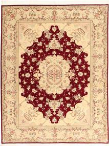 Tebriz 50 Raj Z Dodatkiem Jedwabiu Dywan 150X197 Orientalny Tkany Ręcznie Beżowy/Ciemnoczerwony (Wełna/Jedwab, Persja/Iran)