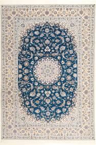 Nain 6La Habibian Dywan 204X304 Orientalny Tkany Ręcznie Jasnoszary/Biały/Creme (Wełna/Jedwab, Persja/Iran)