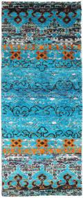 Quito - Turkusowy Dywan 80X200 Nowoczesny Tkany Ręcznie Chodnik Turkusowy Niebieski/Jasnoszary (Jedwab, Indie)