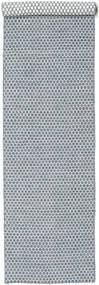 Kilim Honey Comb - Niebieski Dywan 80X340 Nowoczesny Tkany Ręcznie Chodnik Jasnoszary/Jasnoniebieski (Wełna, Indie)