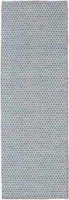 Kilim Honey Comb - Niebieski Dywan 80X240 Nowoczesny Tkany Ręcznie Chodnik Jasnoniebieski/Jasnoszary (Wełna, Indie)