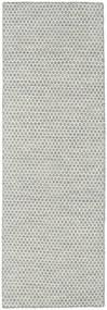 Kilim Honey Comb - Szary Dywan 80X240 Nowoczesny Tkany Ręcznie Chodnik Jasnoszary/Beżowy (Wełna, Indie)