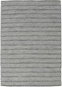 Kilim Long Stitch - Czarny/Szary Dywan 160X230 Nowoczesny Tkany Ręcznie Jasnoszary/Ciemnoszary (Wełna, Indie)