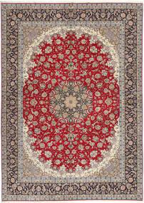Isfahan Jedwabna Osnowa Dywan 300X417 Orientalny Tkany Ręcznie Jasnoszary/Ciemnoczerwony Duży (Wełna/Jedwab, Persja/Iran)