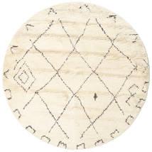 Almaaz - White Dywan Ø 200 Nowoczesny Tkany Ręcznie Okrągły Beżowy/Biały/Creme (Wełna, Indie)