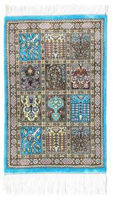 Kom Jedwab Dywan 30X40 Orientalny Tkany Ręcznie Beżowy/Ciemnoszary/Jasnoszary (Jedwab, Persja/Iran)