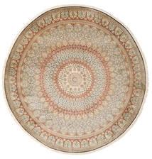 Kaszmir Czysty Jedwab Dywan Ø 248 Orientalny Tkany Ręcznie Okrągły Beżowy/Jasnoszary (Jedwab, Indie)